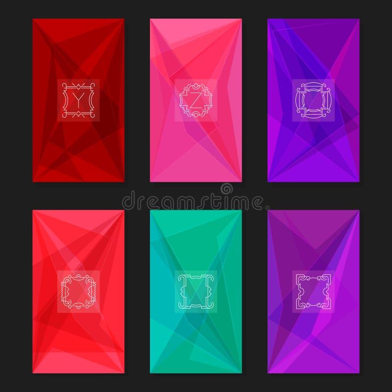 Абстрактные геометрические предпосылки с вензелями Письма y, z и рамки бесплатная иллюстрация