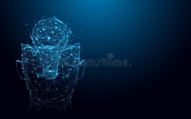 Абстрактные голова и лампочка от линий и треугольников, сети пункта соединяясь на голубой предпосылке иллюстрация вектора