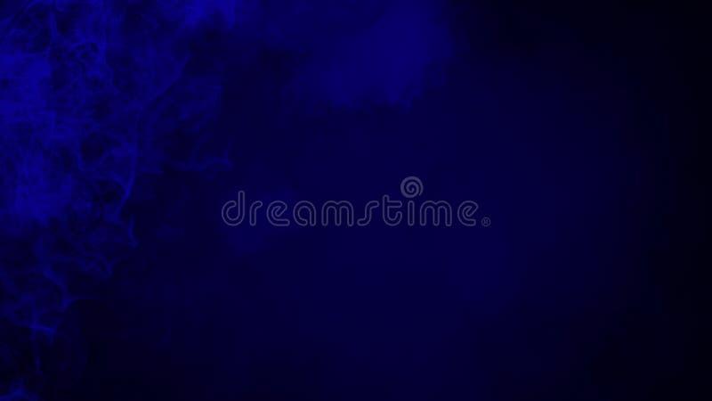 Абстрактные голубые движения пара дыма на черной предпосылке Концепция ароматерапии иллюстрация вектора
