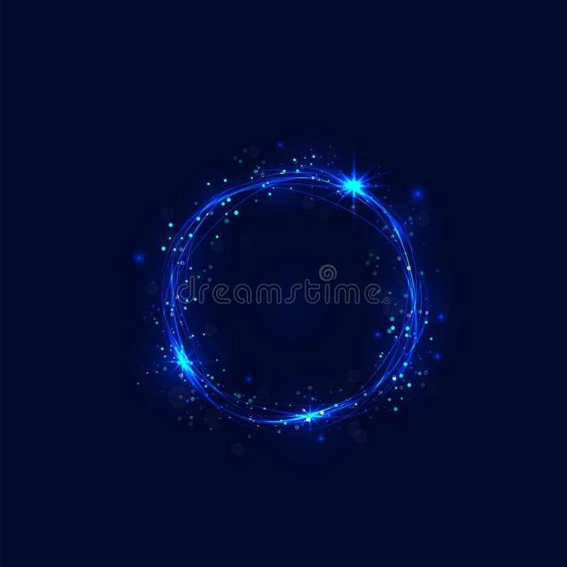 Абстрактные горящие круги и свирль яркого блеска отстают влияние иллюстрация вектора