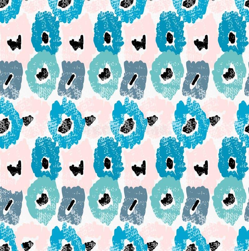 Абстрактные голубые и розовые цветки с grunge иллюстрация штока