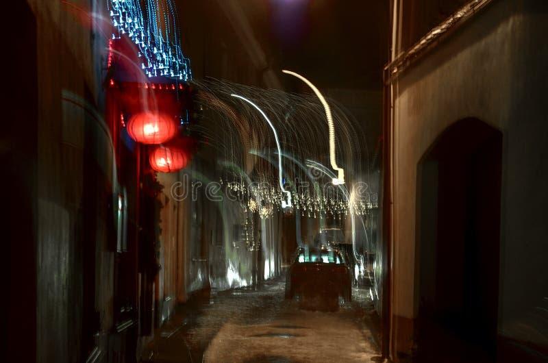 Абстрактные двигая света города стоковые фотографии rf