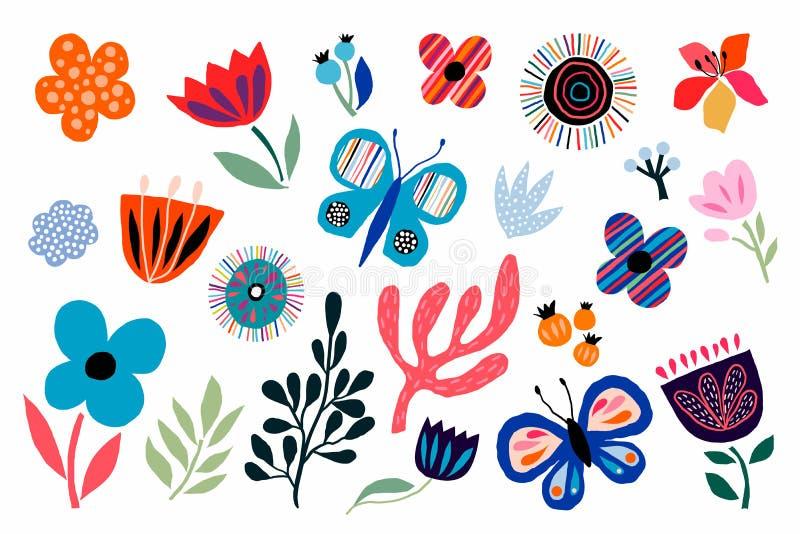 Абстрактные декоративные цветки, собрание заводов и бабочек, отрезали вне бумажный стиль иллюстрация штока