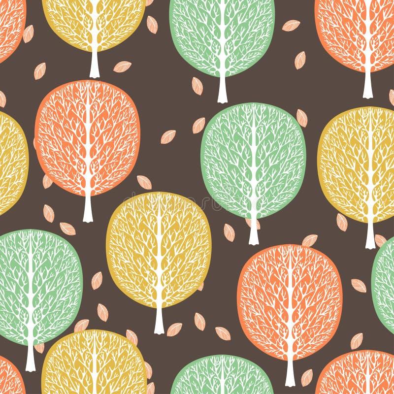 Абстрактные деревья безшовная картина, иллюстрация вектора, стилизованный лес, винтажный чертеж Богато украшенные стволы дерева с иллюстрация вектора