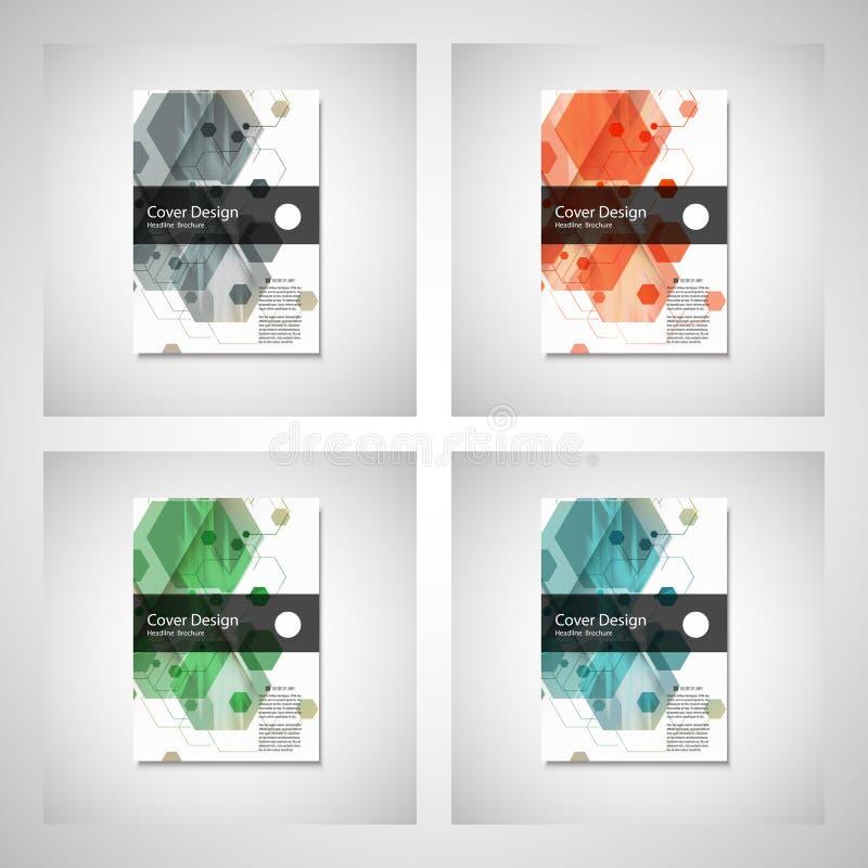 Абстрактные дизайн крышки, план шаблона брошюры дела, годовой отчет, буклет или книга в A4 Шестиугольное геометрическое иллюстрация штока