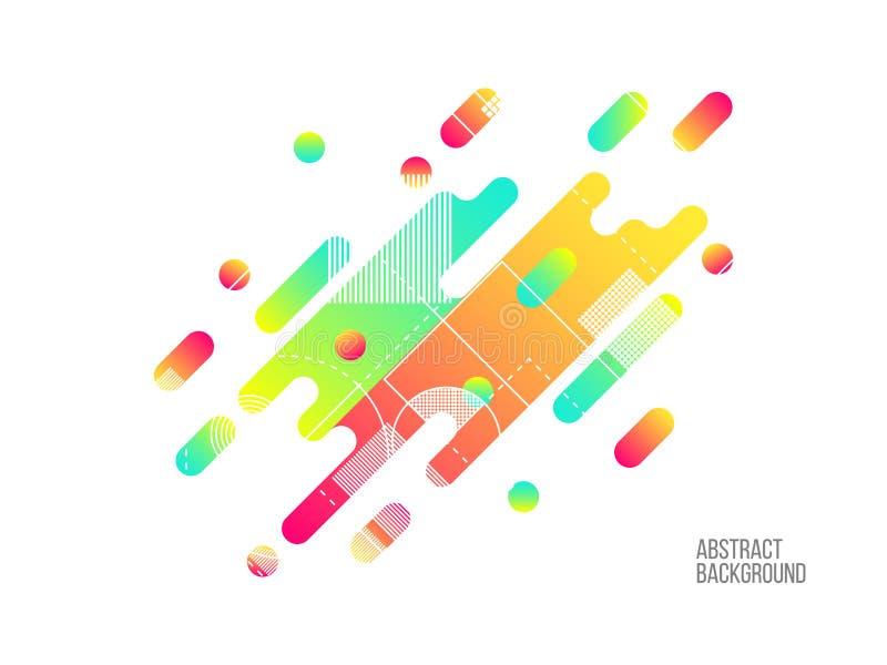 Абстрактные динамические формы изолированные на белизне Яркий шаблон цвета Современный состав с волнистыми формами Округленная па иллюстрация штока