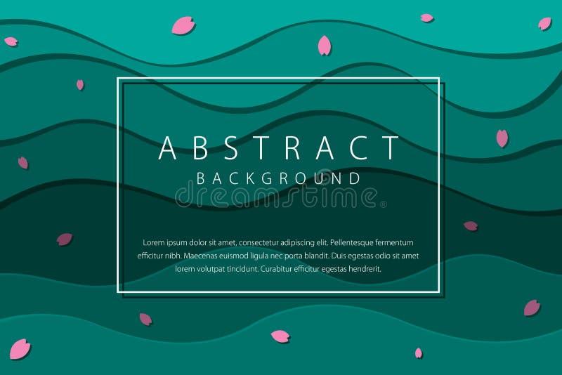 Абстрактные жидкостные волны с иллюстрацией вектора предпосылки вишневых цветов иллюстрация штока