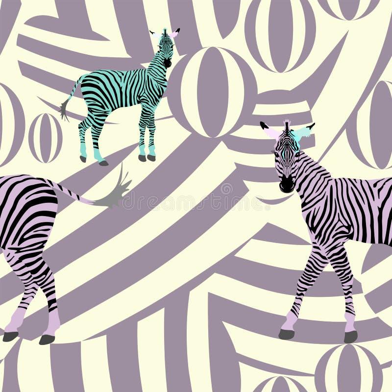 Абстрактные зебры табуна притяжки украшают дырочками зеленую черноту на предпосылке пурпура бесплатная иллюстрация