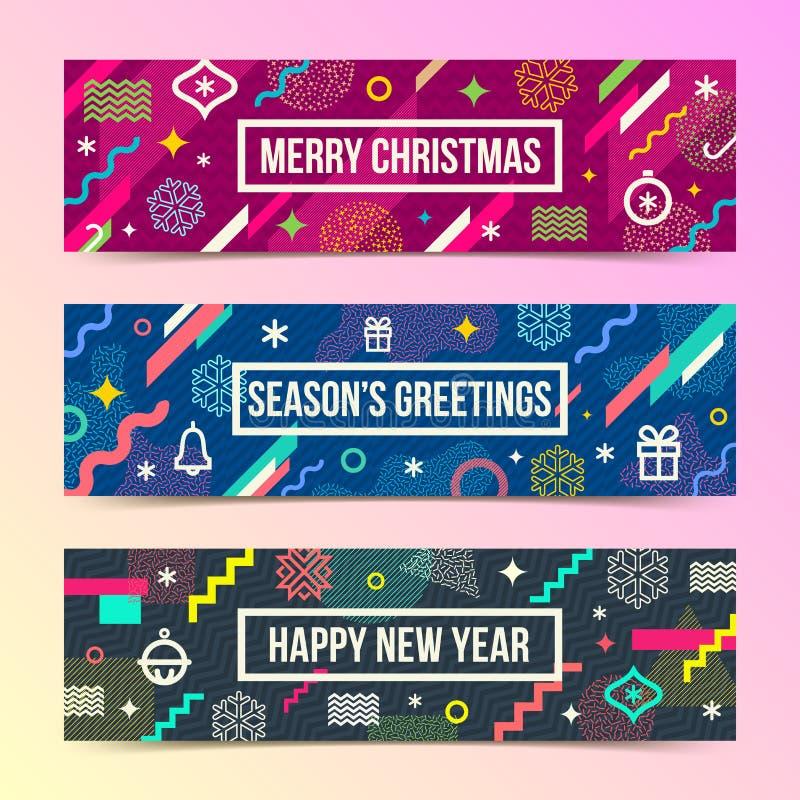 Абстрактные знамена рождества с пестроткаными геометрическими формами иллюстрация штока