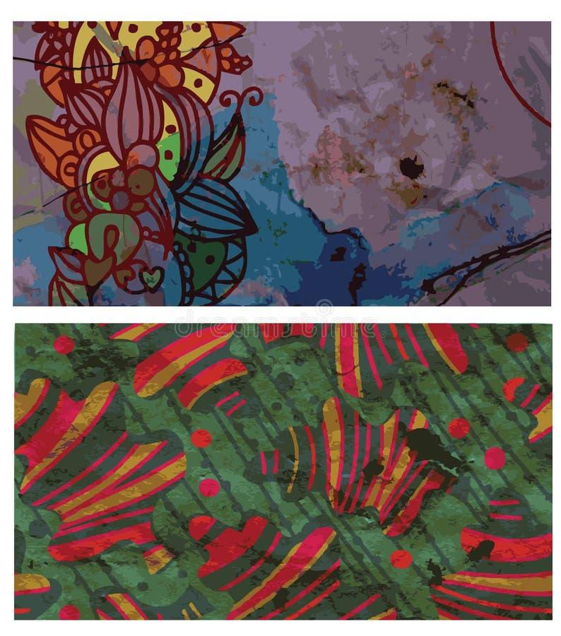 Абстрактные знамена grunge установленные с листьями бесплатная иллюстрация