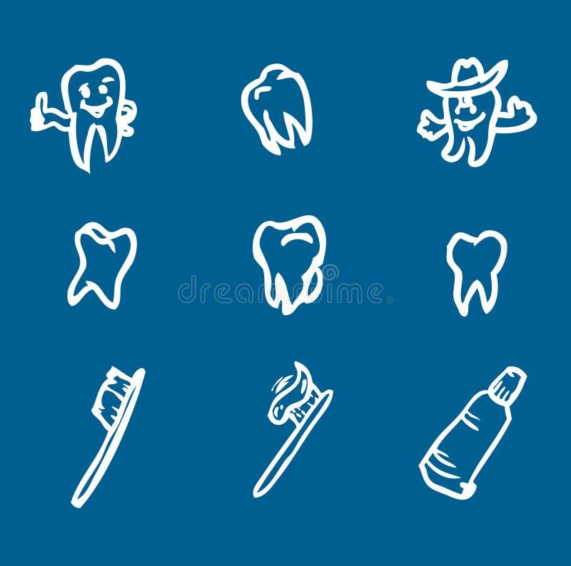абстрактные зубы установленного символа иллюстрация вектора