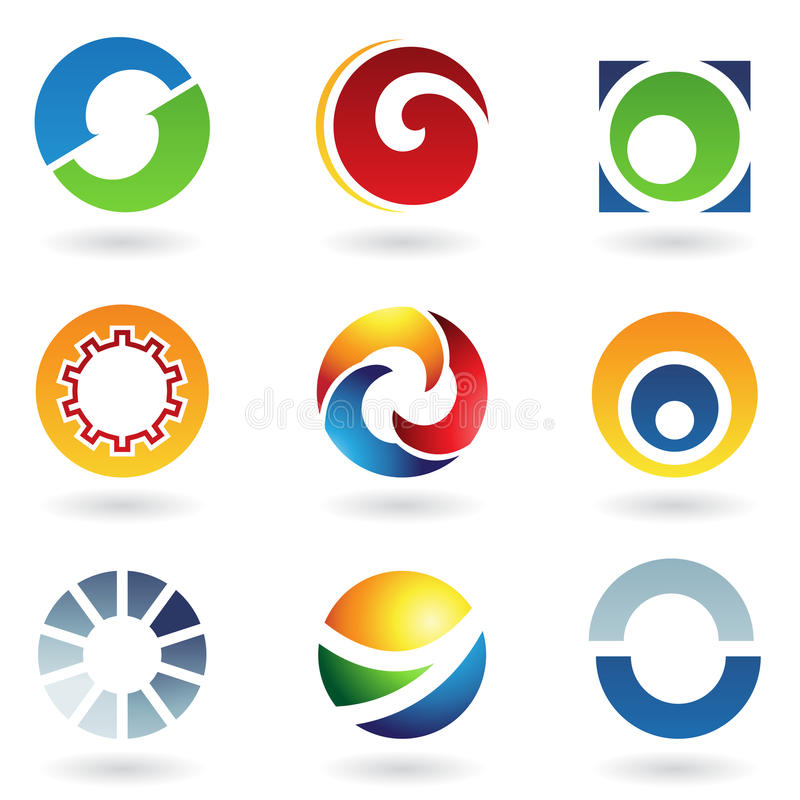 абстрактные иконы помечают буквами o иллюстрация вектора