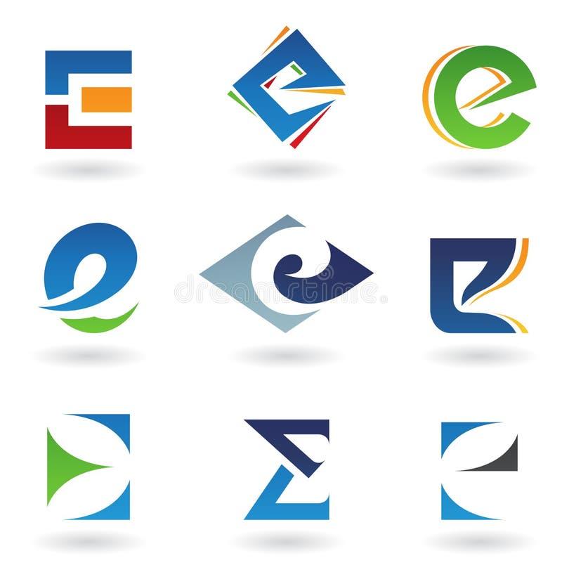 абстрактные иконы e помечают буквами походить иллюстрация штока