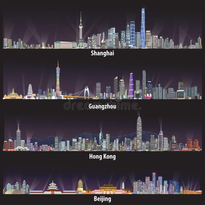 Абстрактные иллюстрации вектора горизонтов Шанхая, Гуанчжоу, Гонконга и Пекина на ноче иллюстрация вектора