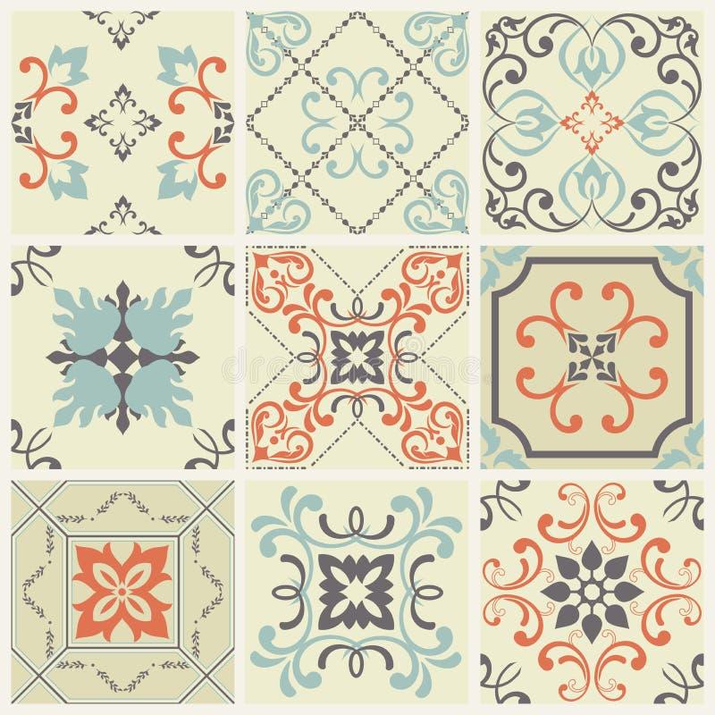 Абстрактные картины штофа установили 9 безшовный в ретро стиле для пользы дизайна также вектор иллюстрации притяжки corel иллюстрация вектора