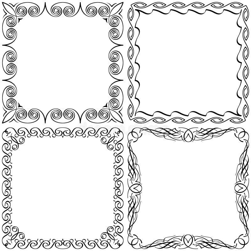 Каллиграфические установленные рамки стоковые фото