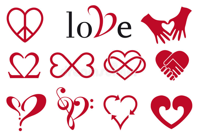 Абстрактные конструкции сердца, комплект вектора иллюстрация штока