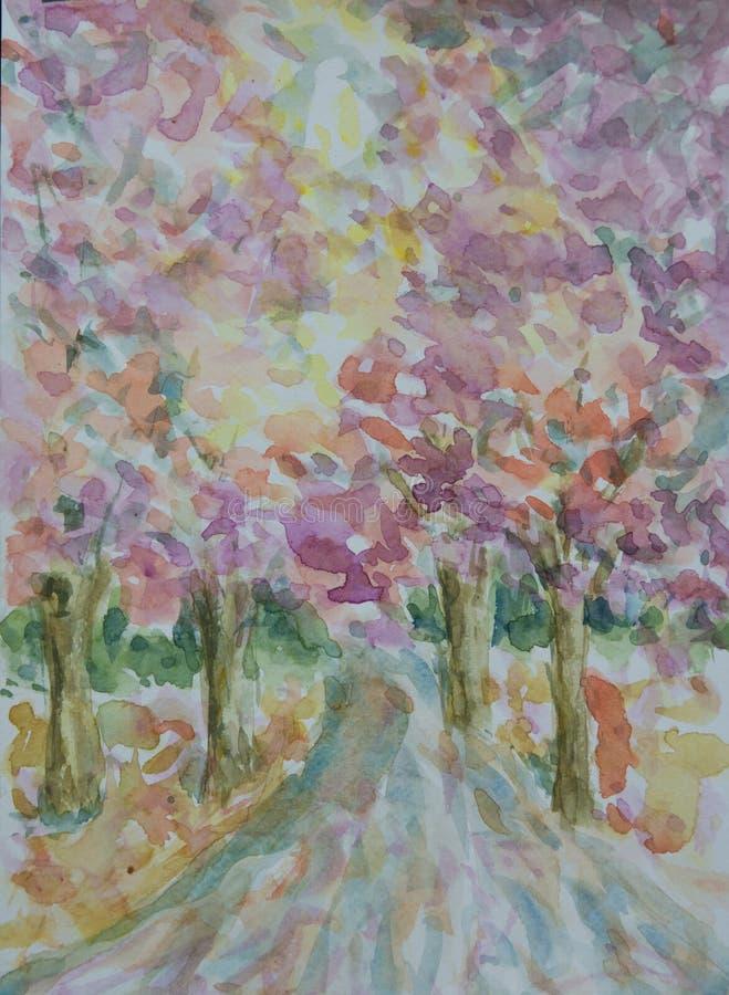 Абстрактные красочные деревья и дорога сельской местности иллюстрация штока