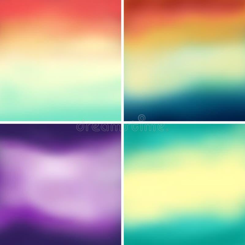 Абстрактные красочные запачканные предпосылки вектора установили 5 иллюстрация вектора