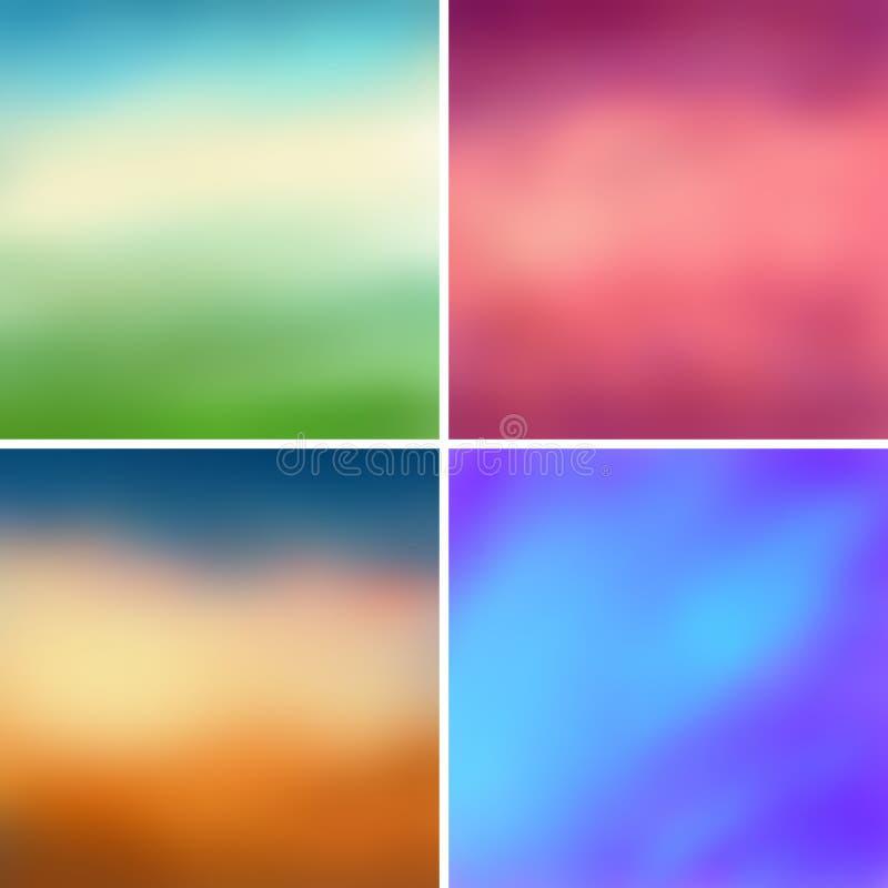 Абстрактные красочные запачканные предпосылки установили 2 иллюстрация вектора