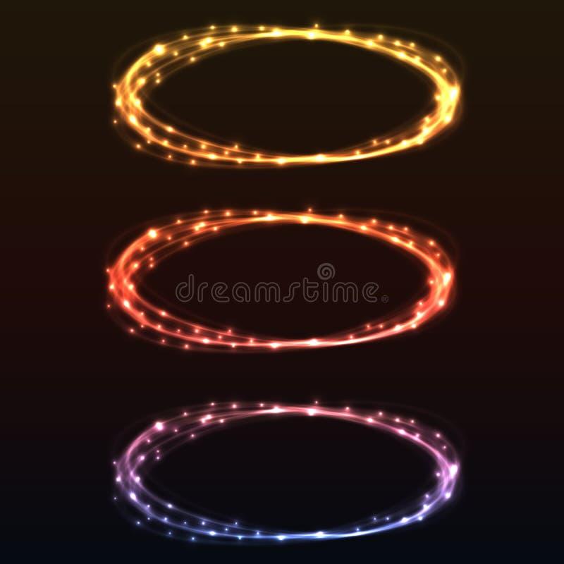 Абстрактные красочные кольца света зарева иллюстрация штока