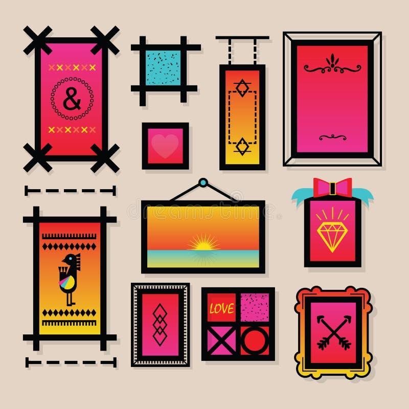 Абстрактные красочные символы украшения и установленные значки рамок бесплатная иллюстрация