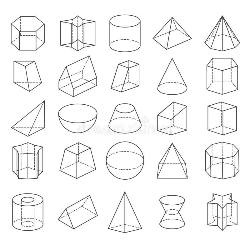 Абстрактные кристаллы 3d от значков иллюстрация вектора
