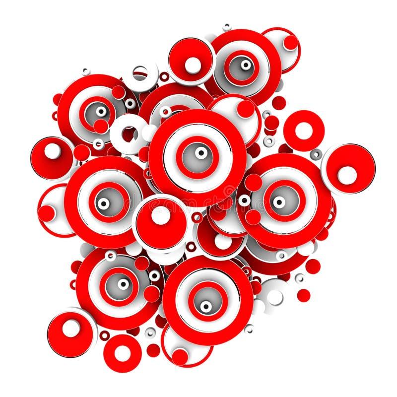 абстрактные круги 3d красные иллюстрация штока