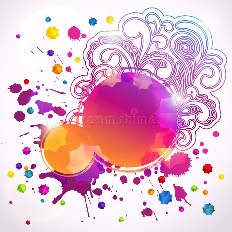 Абстрактные круглые знамена (цифровое искусство) иллюстрация штока