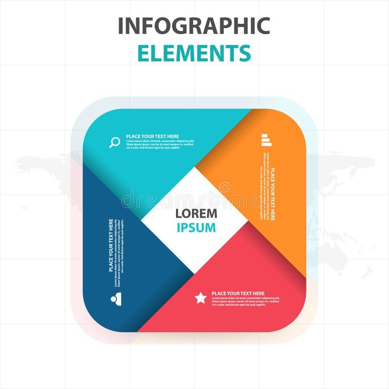 Абстрактные круглые элементы Infographics дела прямоугольника, иллюстрация вектора дизайна шаблона представления плоская для веб- бесплатная иллюстрация