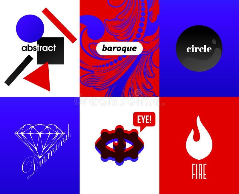 Абстрактные крышки с элементами современного дизайна и крутое типографское на ярких и живых предпосылках градиента Алфавит хипсте иллюстрация штока