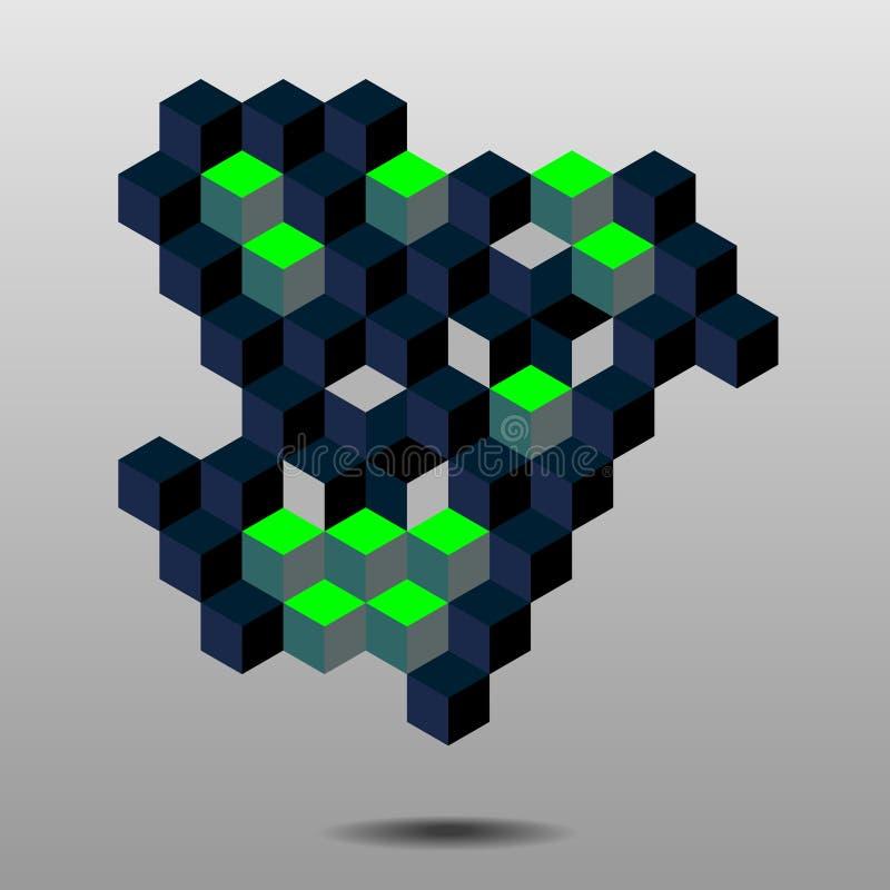 абстрактные кубики иллюстрация вектора