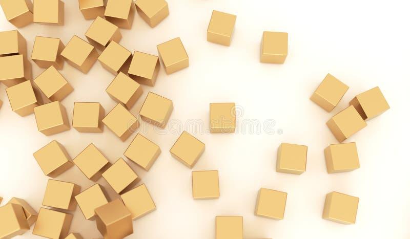 Абстрактные кубы металла золота бесплатная иллюстрация