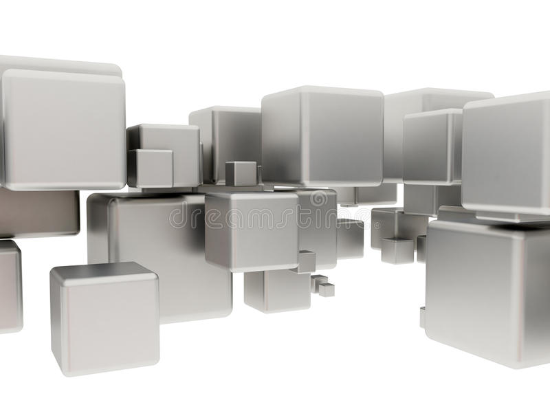 Абстрактные кубы металла иллюстрация штока