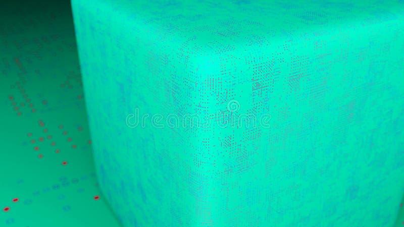 Абстрактные куб и пол смещения 3d представляя цифровой фон бесплатная иллюстрация