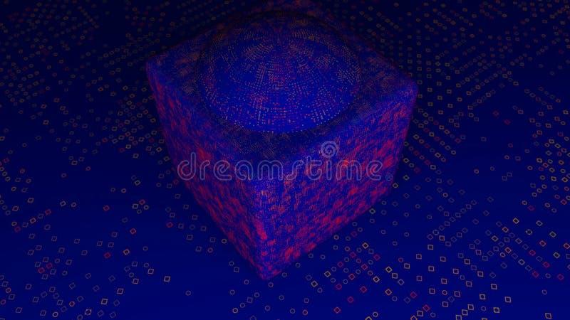 Абстрактные куб и пол смещения 3d представляя цифровой фон иллюстрация штока