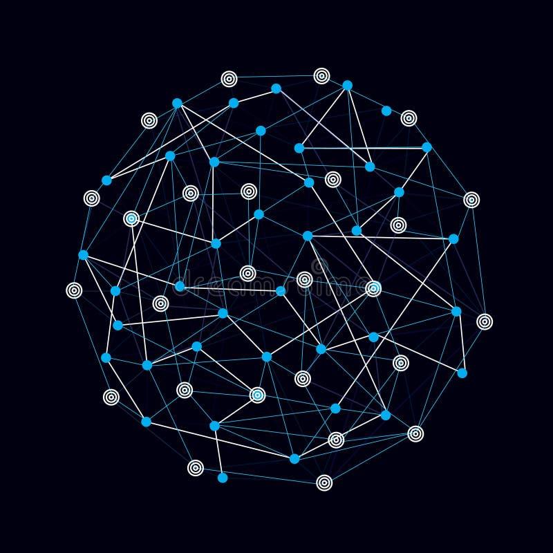 Абстрактные линии и точки глобальных соединений иллюстрация штока