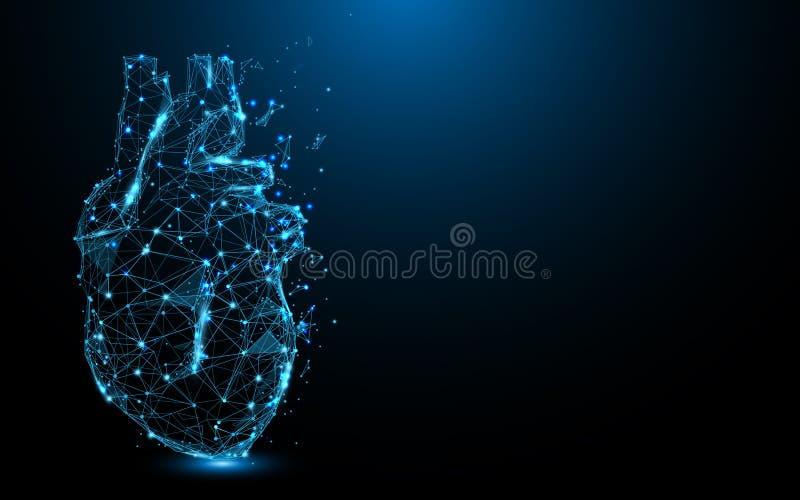 Абстрактные линии формы значка сердца и треугольники, сеть пункта соединяясь на голубой предпосылке иллюстрация вектора
