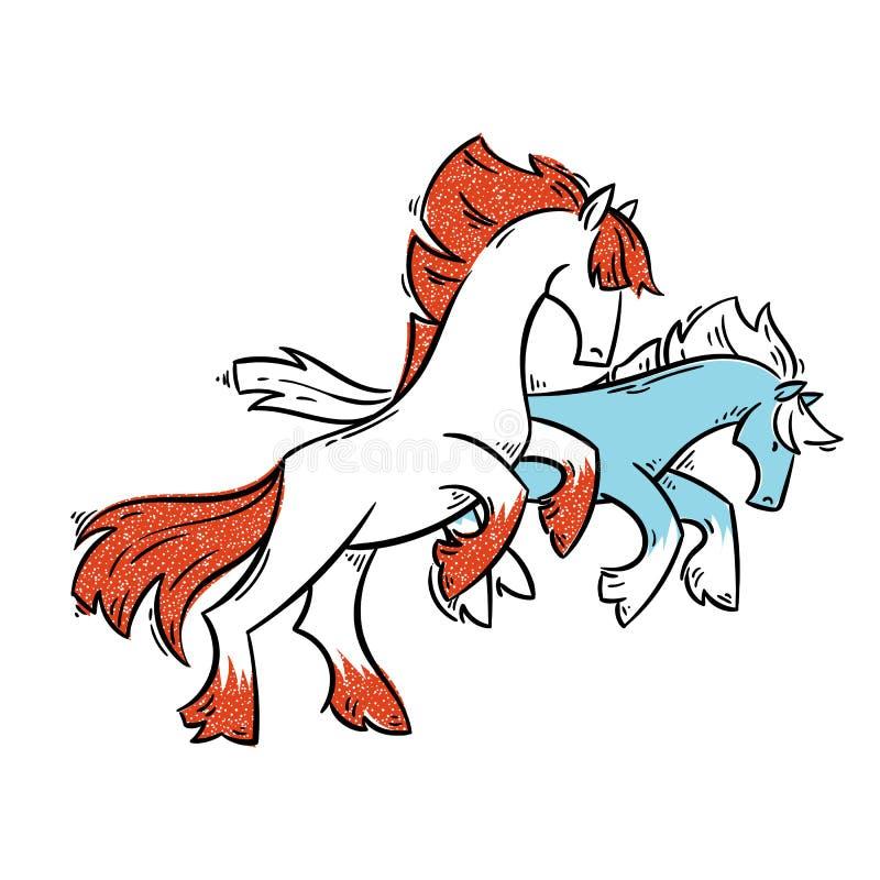 Абстрактные лошади шаржа стоя на 2 ногах и галопах иллюстрация штока
