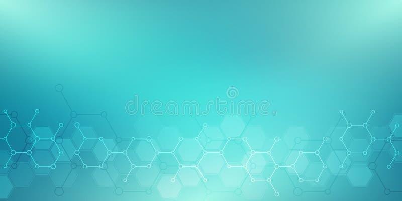 Абстрактные молекулы на зеленой предпосылке Молекулярные структуры или химическое машиностроение, генетические исследования, техн бесплатная иллюстрация