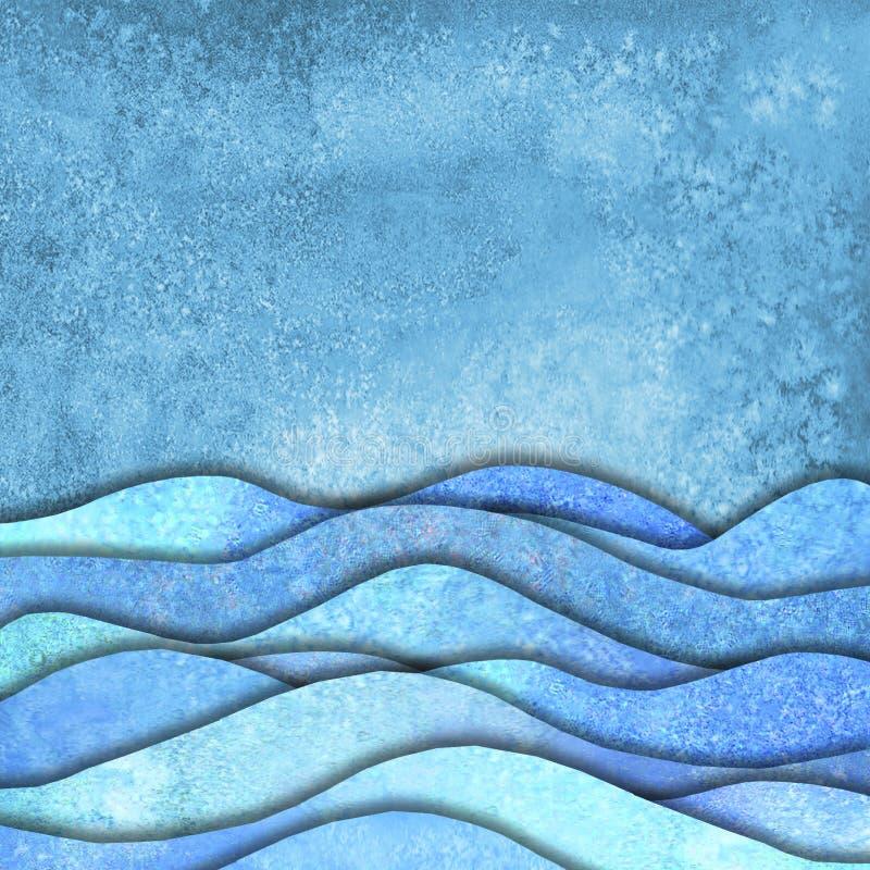 Абстрактные моря форм волны геометрическая предпосылка акварели лета иллюстрация вектора