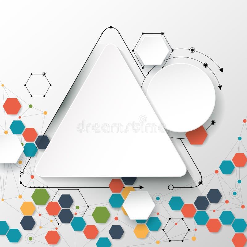 Абстрактные молекулы и сообщение - социальная концепция технологии средств массовой информации иллюстрация вектора