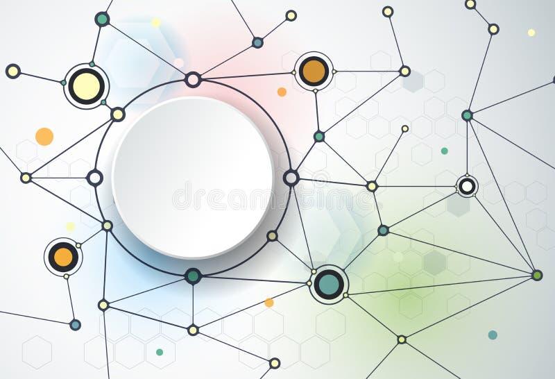 Абстрактные молекулы и 3d бумага, интегрированные круги иллюстрация штока