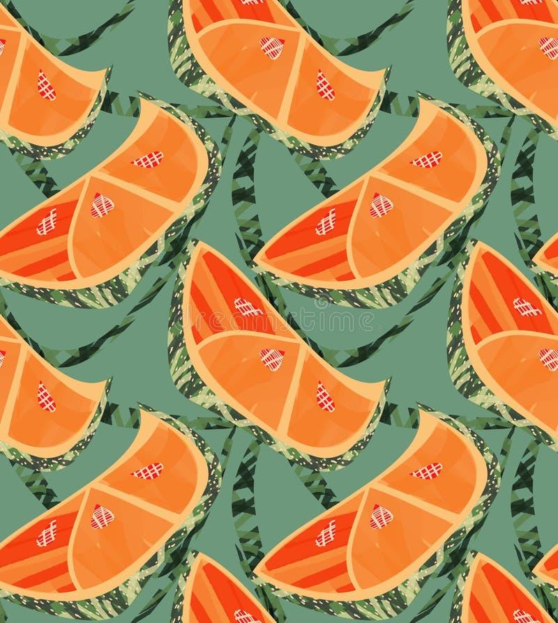 Абстрактные оранжевые куски с текстурой и решеткой на зеленом цвете иллюстрация вектора