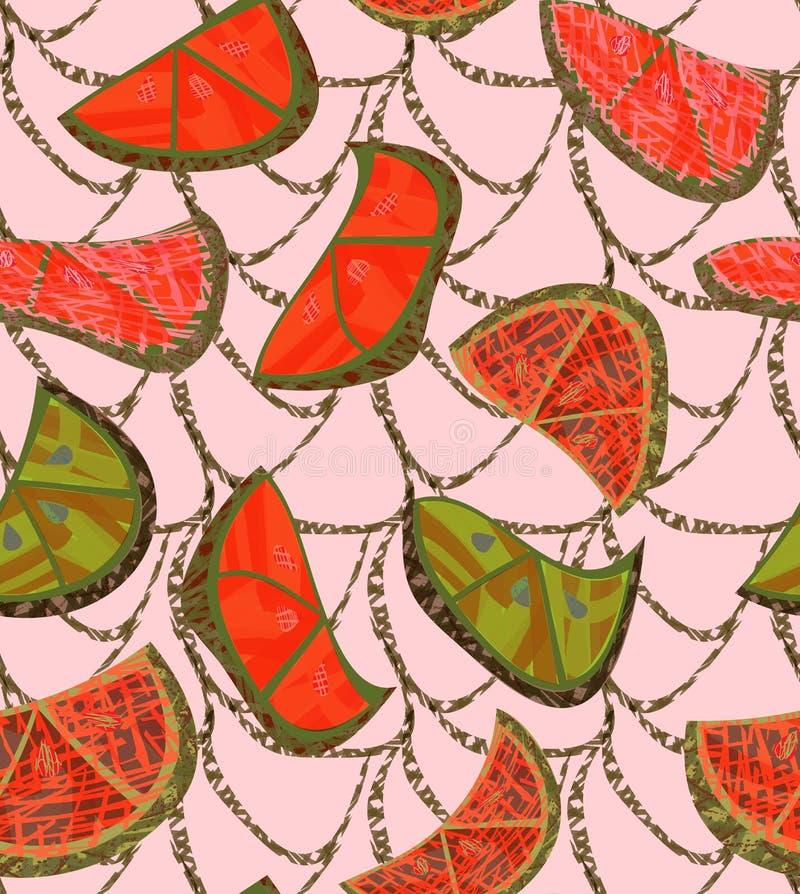 Абстрактные оранжевые куски с текстурой и решеткой на сливк иллюстрация вектора