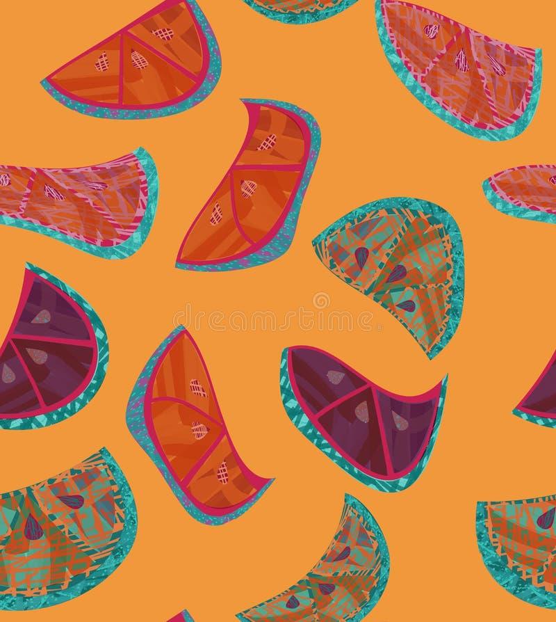 Абстрактные оранжевые куски с текстурой на апельсине иллюстрация вектора