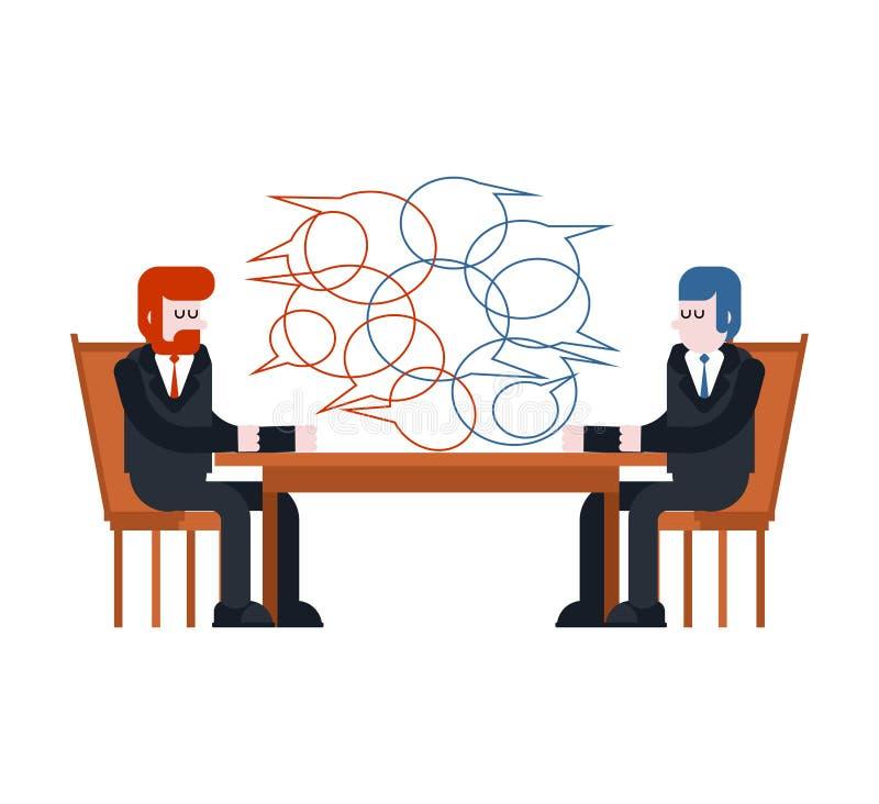 абстрактные переговоры бизнеса моделя 3d 2 бизнесмена сидят таблица введите бесплатная иллюстрация