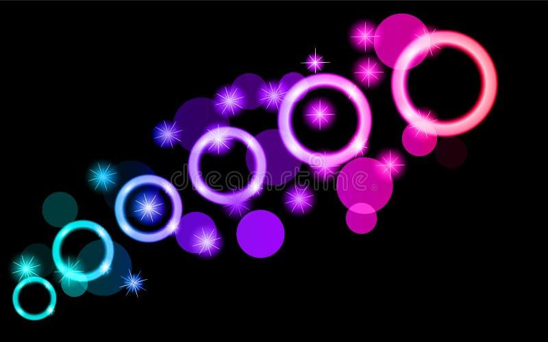 Абстрактные, пестротканые, неоновые, фиолетовые, розовые, яркие, накаляя круги, шарики, пузыри, планеты с звездами на черной пред иллюстрация вектора