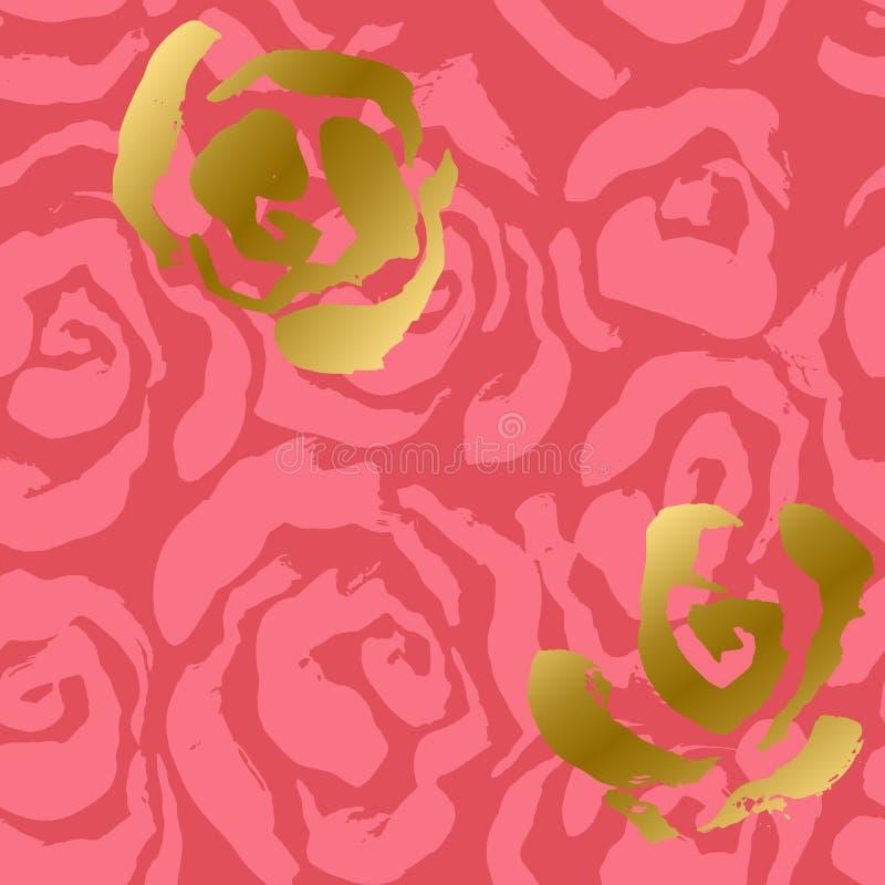 Абстрактные пинк роз и предпосылка золота Картина цветка безшовная также вектор иллюстрации притяжки corel иллюстрация штока