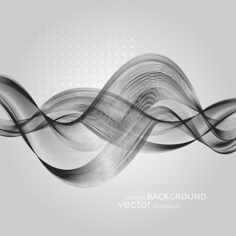 Абстрактные предпосылки с красочными волнистыми линиями Элегантный дизайн волны Технология вектора стоковые изображения rf